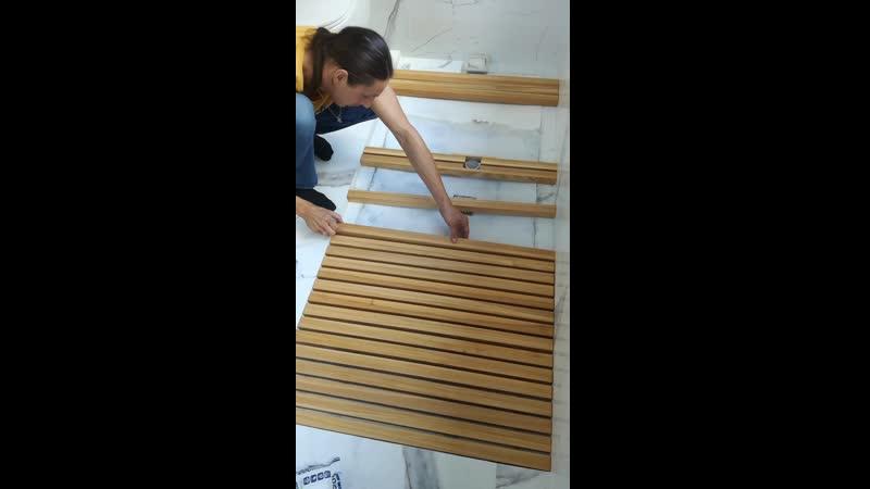 Монтаж деревянных реек из ясеня