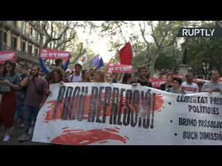 В Барселоне проходит акция протеста против приговора лидерам движения за независимость Каталонии  LIVE