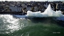 Huge storm waves slam into sea wall in Saint-Malo, France - Easy ride Opérateur drone - 4K