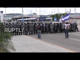 Hondurasus embassy targeted in anti-government protests ( ruptly )