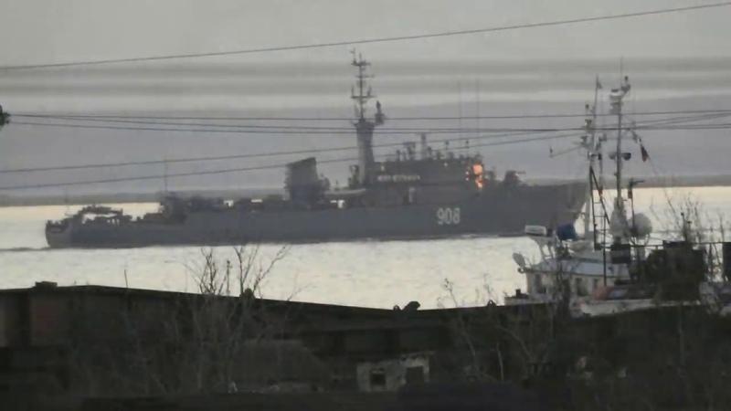 Морской тральщик Вице адмирал Захарьин Проход керченской переправы