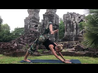 Yoga for tight hips  flexibility ♥ mind- body release _ khmer temple ruins