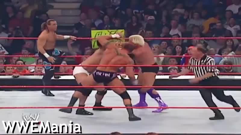 WWE RAW Goldberg and Shawn Michaels vs Evolution 2003