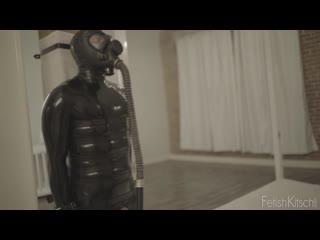 Latex catsuit man gas mask girl dildo
