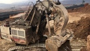 Terex RH170 Front Shovel Excavator Loading Hitachi Dumpers