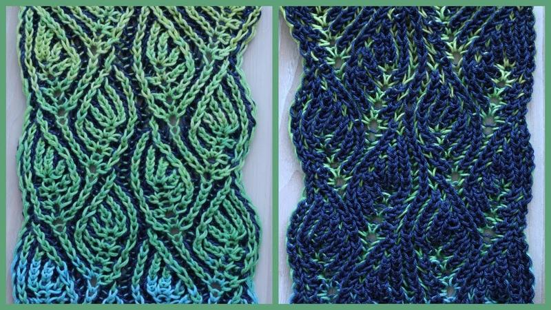 Brioche knitting *Foliage scarf* knitting patterns
