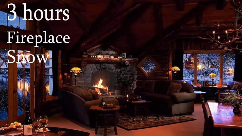 RELAXING ATMOSPHERE Beautiful Snow Relaxing Wind Fireplace Sounds Cozy Ambience