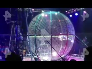 Артист цирка упал с высоты, выполняя трюк на мотоцикле
