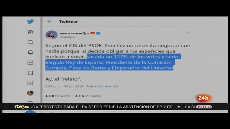 24H Echenique CIS Tezanos tuit en pantalla vlc-record-2019-07-30-19h12m28s-httprtve-24h