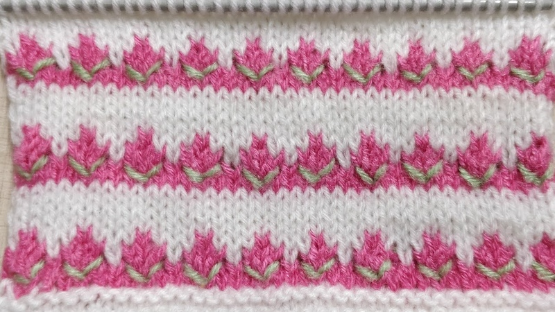 Tricolor Beautiful Rosebud Knitted Pattern for Kids Simple Quick n Easy