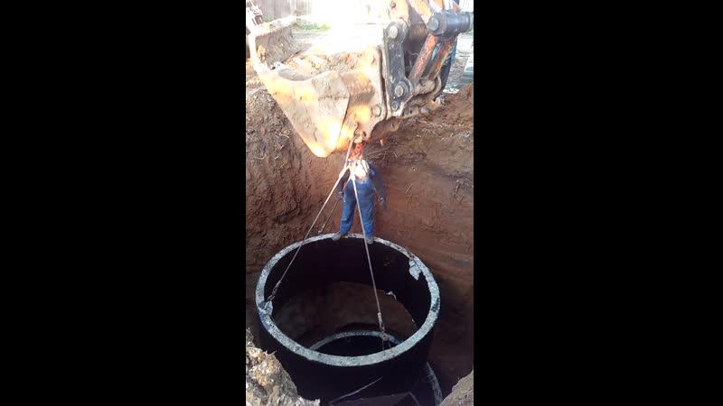 Монтируем выгребную яму из бетонных колец