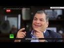 """Evo Morales conversa com o ex-presidente do Equador, Rafael Correa no """"Conversando con Correa"""""""