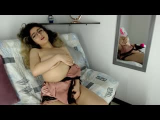 Young Latina with glasses and big saggy boobs on cam