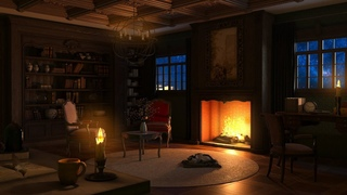 Library Ambience | Rain Sounds & Thunderstorm Sounds | Crackling Fireplace for Sleeping for Study