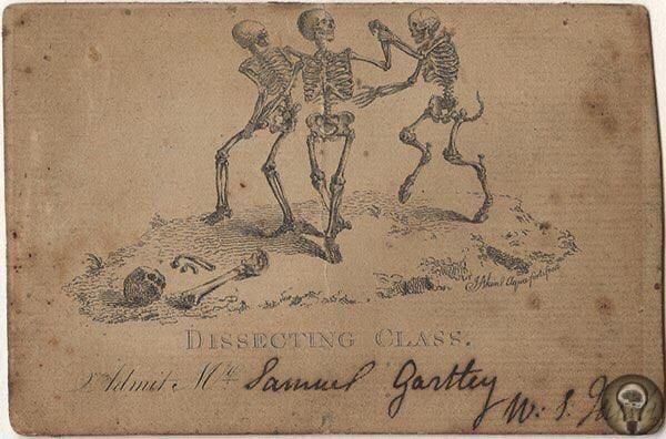 Билет для студента-медика на занятие по анатомии в морге. США, 1800-е.