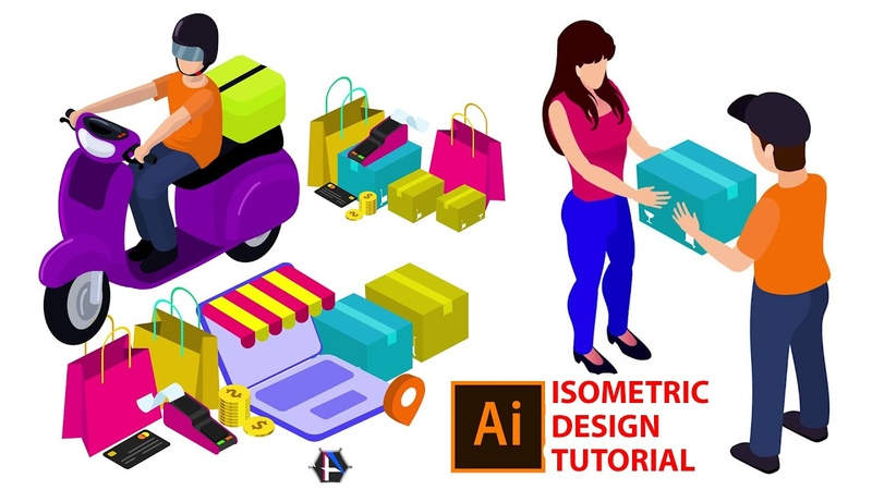 Learn Skills For QUALITY ISOMETRIC DESIGN - illustrator order delivery Isometric people Tutorial