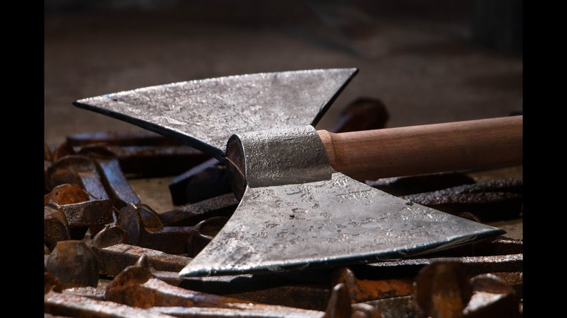 Making VIKING AXE from RAILROAD SPIKES
