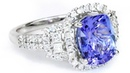 Tanzanite and Diamond Cocktail Ring GIL CERTIFIED 14k White Gold 4.24 tcw Natural Vintage Halo