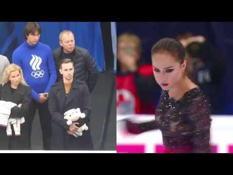 Eteri Tutberidze Daniil Gleikhengauz Sergei Dudakov watching Alina Zagitova at ROSTELECOM cup 2018