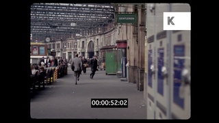 1960s London, Man Running After Woman at Waterloo Station, 35mm