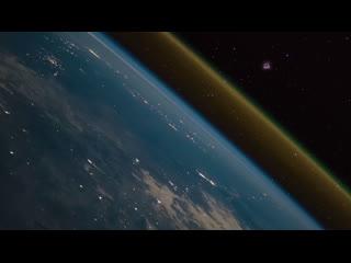 Запуск ракеты и сгорание ступени в атмосфере Земли, видимые с МКС.