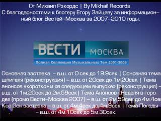 Запись Audacity: Mikhail Records и Шпигель Вести-Москва Полная Коллекция Музыкальных Тем 2001-2009. (Sphpigel Vesti-Moscow 2009)