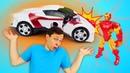 Игры гонки на выживание - Трасса для машин Супергероев! – Видео с игрушками в Автомастерской.