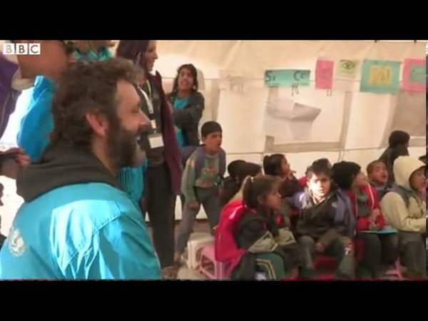 Michael Sheen visits Syrian refugees