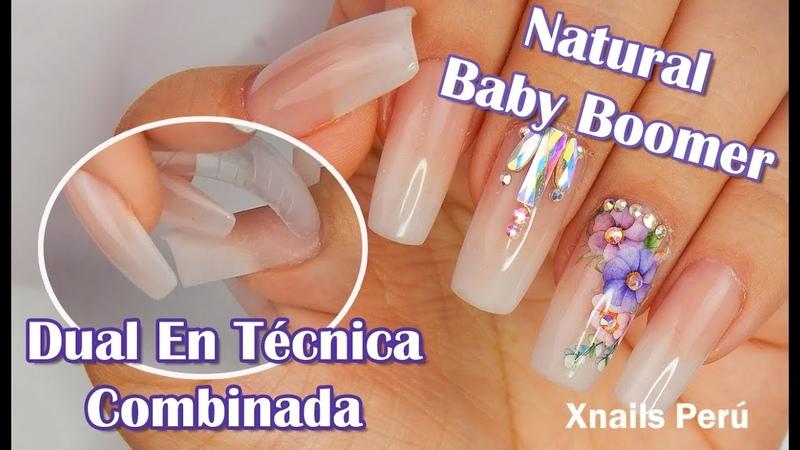 Uñas Acrilicas Natural Baby Boomer Con Moldes Dual en Técnica Combinada Xnails Peru