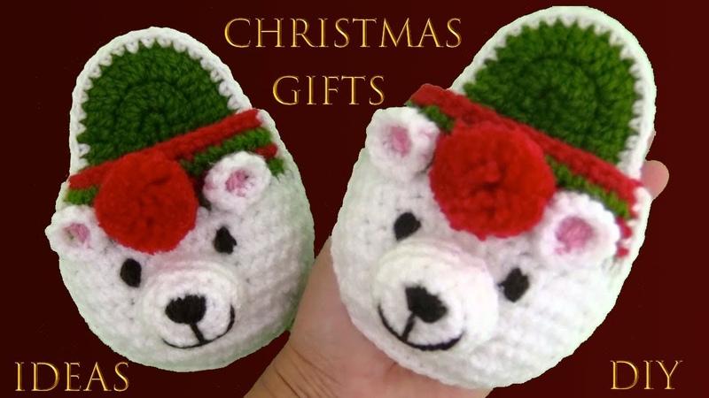 Pantuflas de ositos polar a crochet regalos de Navidad Christmas Gifts Ideas Diy