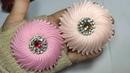185) DIY Elegant Brooch   jellyfish   Amazing Ribbon Flower work   Cara membuat bros ubur-ubur