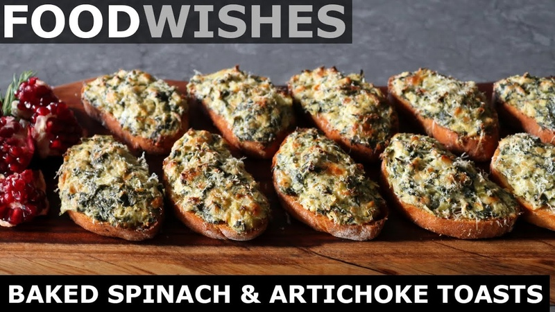 Baked Spinach Artichoke Toasts Food Wishes