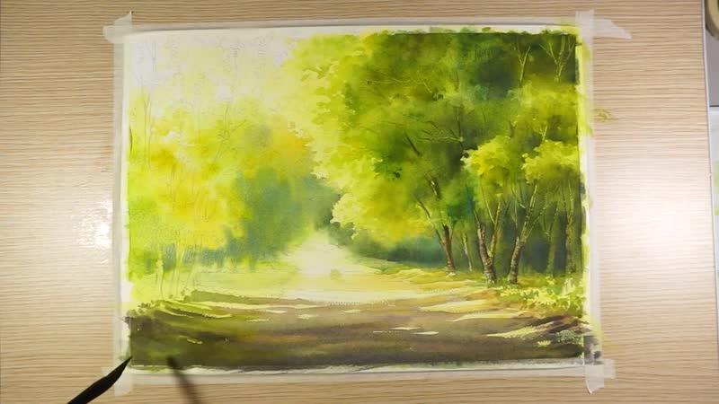 Чувство весны Акварельная пейзажная живопись