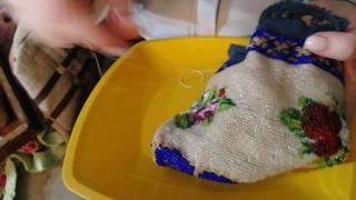 Реставрация старинной работы в технике вязания бисером.