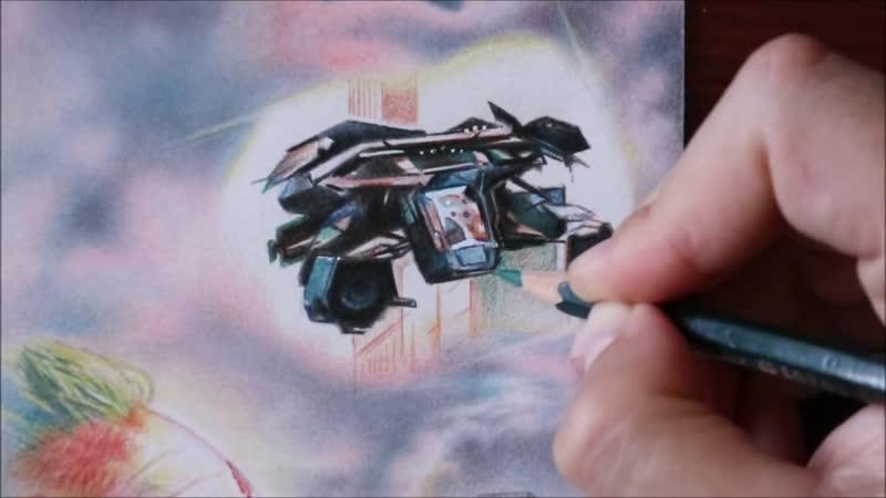 Часть 11 Рисование плаката Готэм сити Самолет Бэтмена