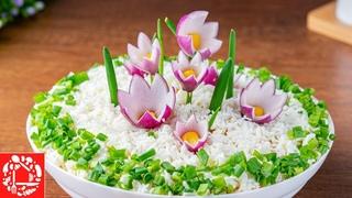 Салат Полянка с Цветами на 8 Марта. Очень Вкусный и Легкий салат