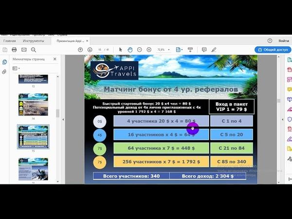 AppiTravels VIP Самый выгодный маркетинг 100% Matching Bonus