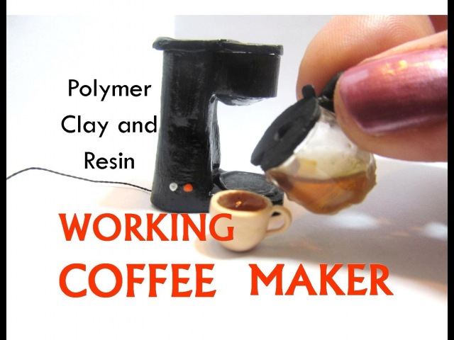 Polymer Clay and Resin Working Coffee Maker Dollhouse Miniature