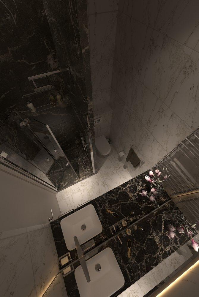 Концепт квартиры-студии 28 м с кроватью-чердаком.