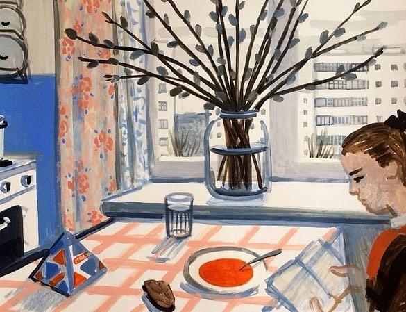 Тарелка борща с хлебом после уроков, семейные застолья по...