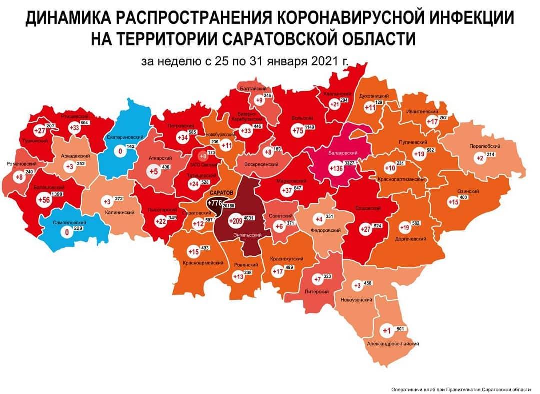 Обновлена карта динамики прироста случаев коронавируса за неделю с 25 по 31 января по муниципалитетам Саратовской области