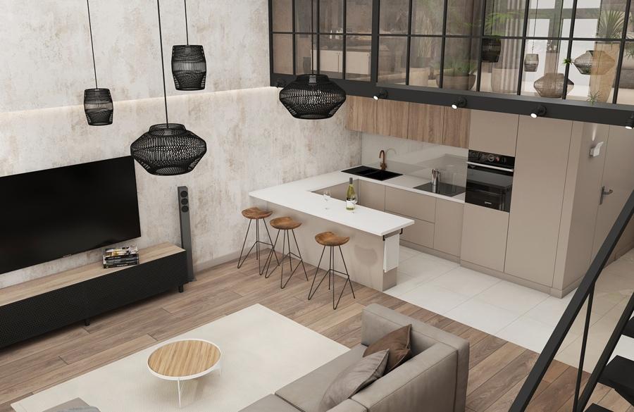 Проект двухуровневой квартиры 68 м.