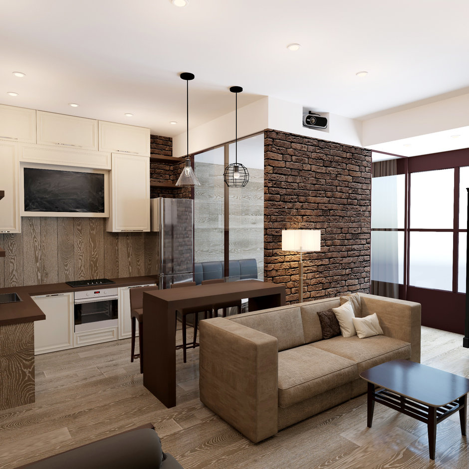 Проект квартиры 43 м в стиле лофт с отделкой стен паркетной доской.