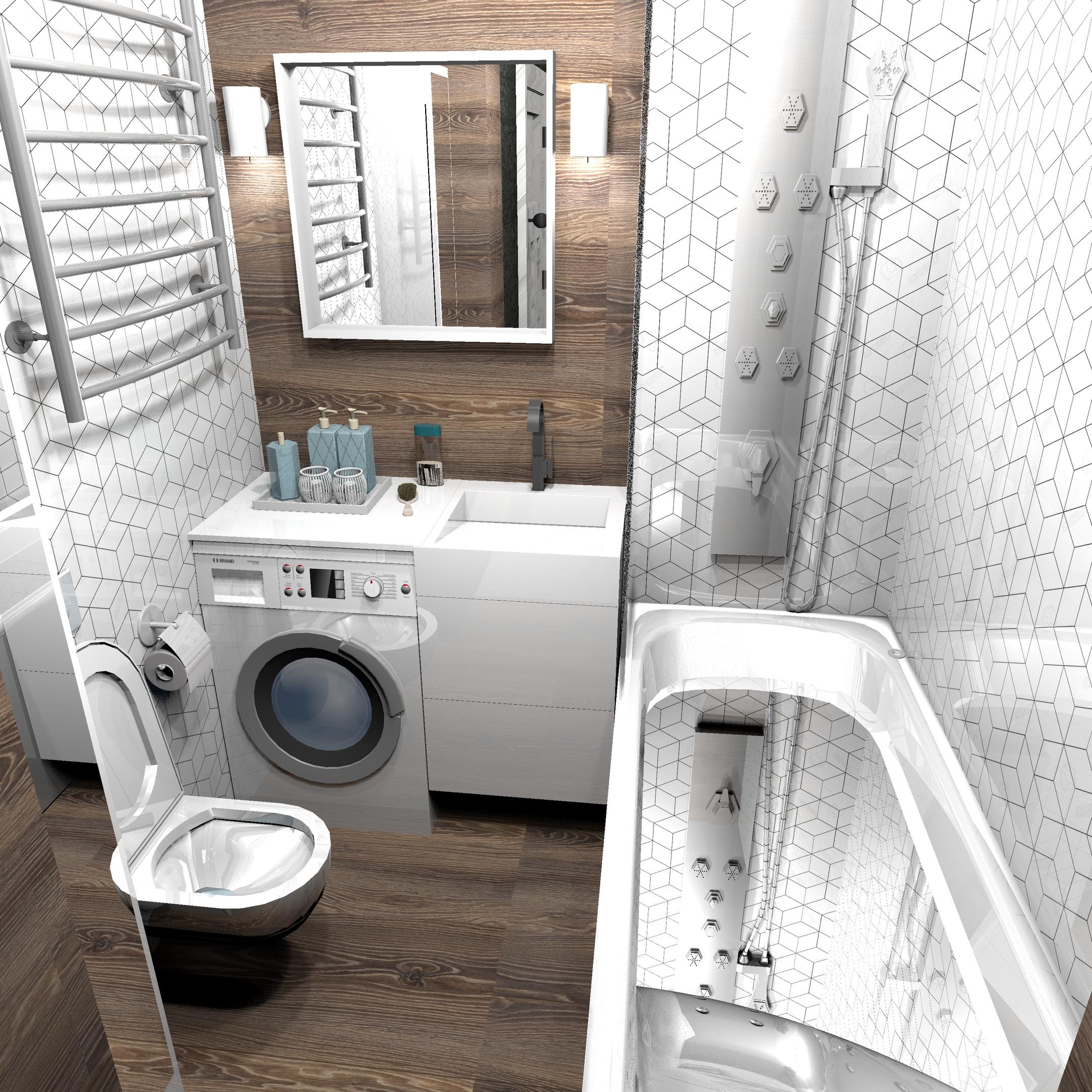 Дизайн-проект ванной комнаты почти 4 кв.