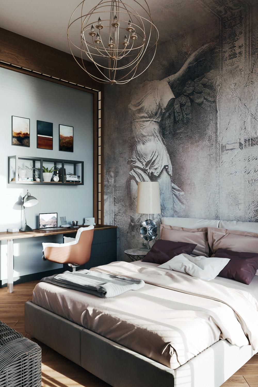 Проект квартиры 40 м с лофт-элементами и итальянскими мотивами.