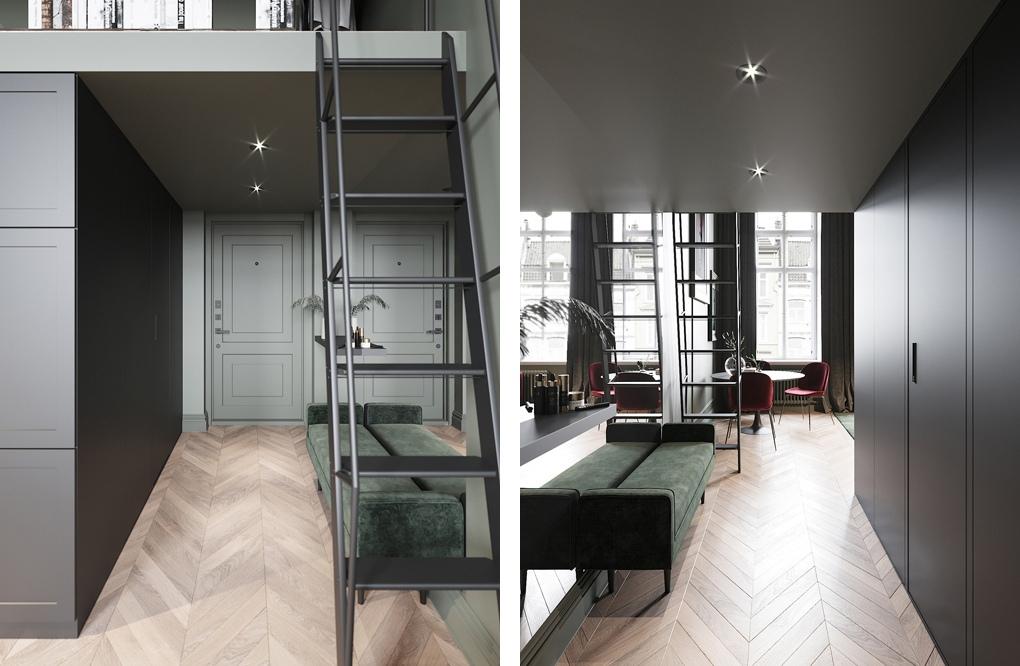 Проект двухуровневой квартиры-студии 24 м.