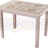 Стол кухонный Каппа ПР ВП МД 04 МД пл 52, молочный дуб, коричневая плитка с сакурой