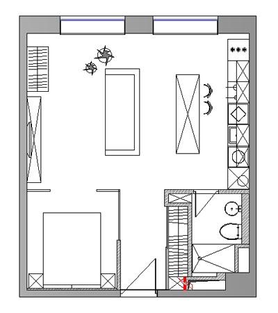 Дизайн квартиры открытой планировки 44 кв.