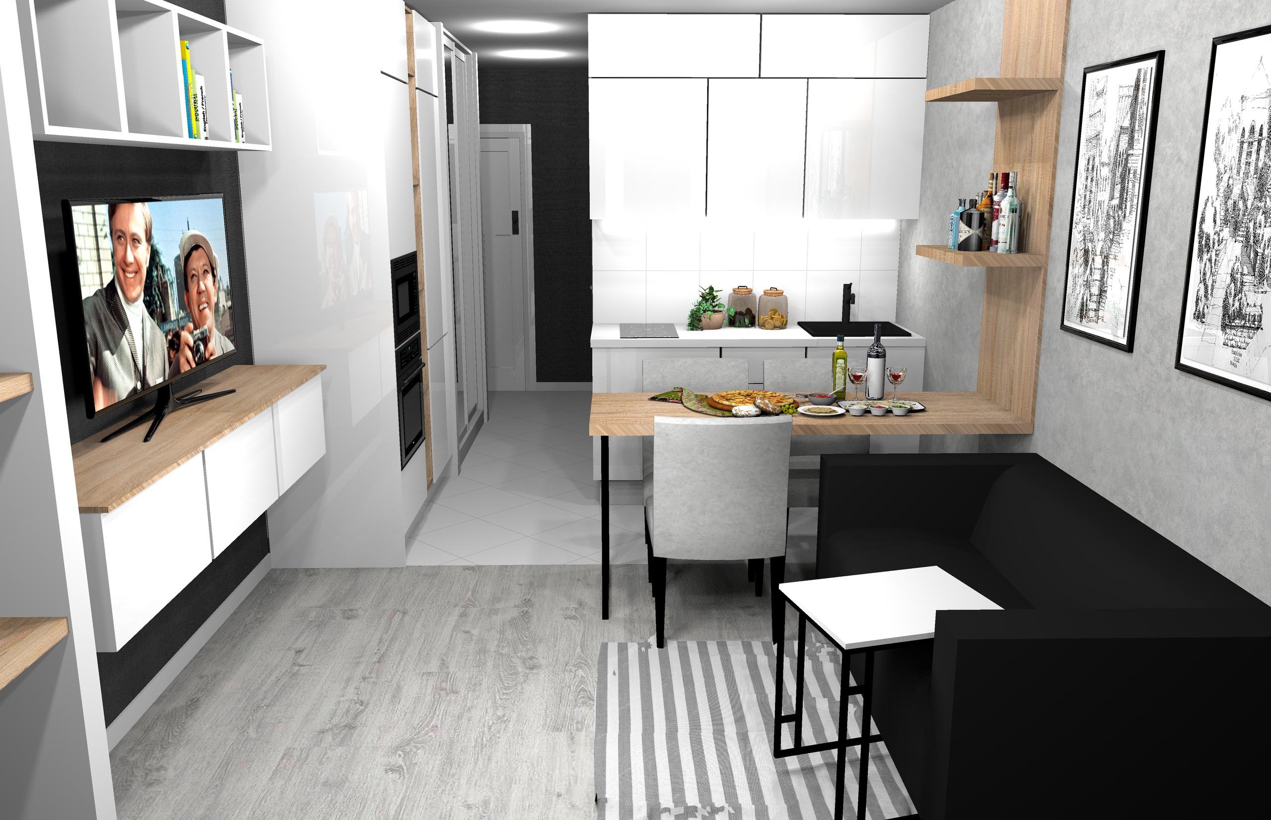 Проект квартиры-студии 26,5 кв/м , жк Новая алексеевская роща.