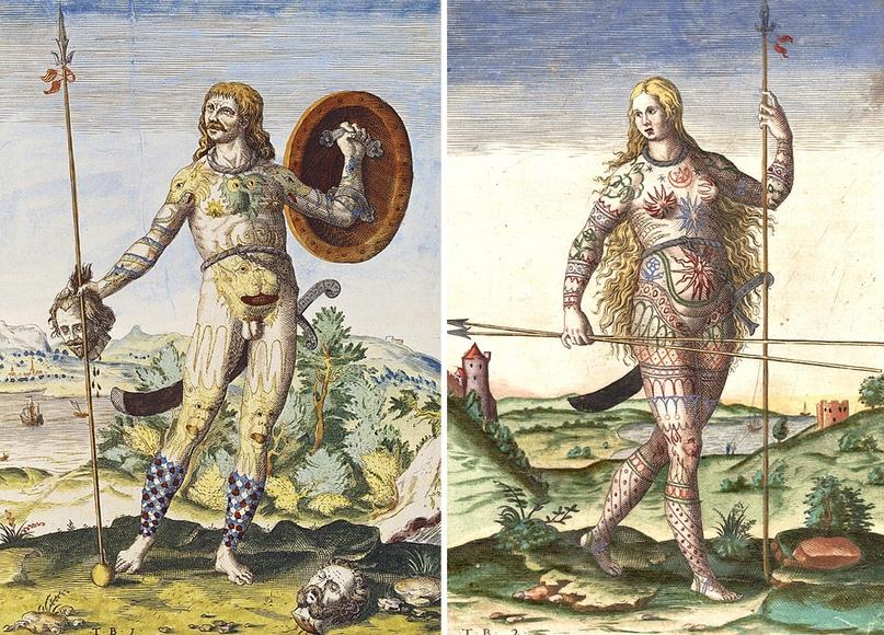 Пикты себя пиктами, скорее всего, не называли и их самоназвание неизвестно. Считается, что слово «пикт», как водится, подарили миру древние римляне и обозначало оно «раскрашенный». Художники изображают из обычно так. Это раскрашенная гравюра голландско-немецкого художника шестнадцатого века Теодора де Бри.